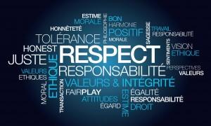 Respect tolrance valeurs nuage de mots illustration